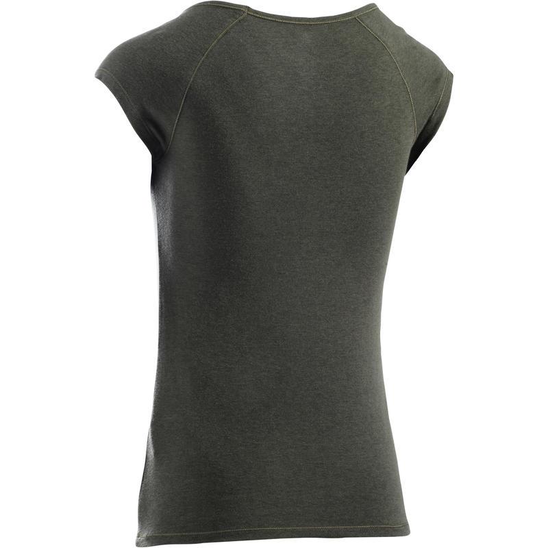 T-Shirt 500 slim manches courtes 500 Gym & Pilates femme kaki