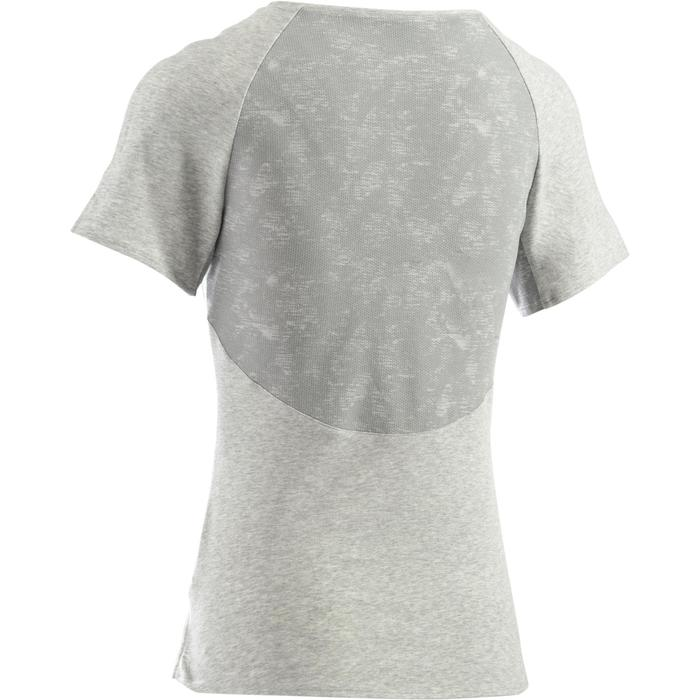 T-Shirt 520 manches courtes Gym & Pilates femme gris chiné clair - 1273146