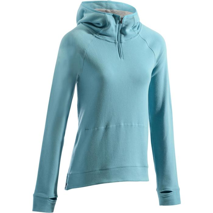 Sweat-shirt 900 Gym & Pilates Femme capuche bleu glacier - 1273193