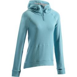 Dames hoodie 900 voor gym en pilates gletsjerblauw