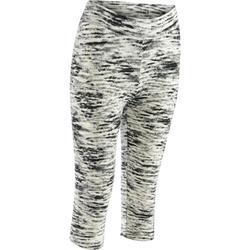 Dameskuitbroek Fit+500 voor gym en pilates slim fit grijs blauw print