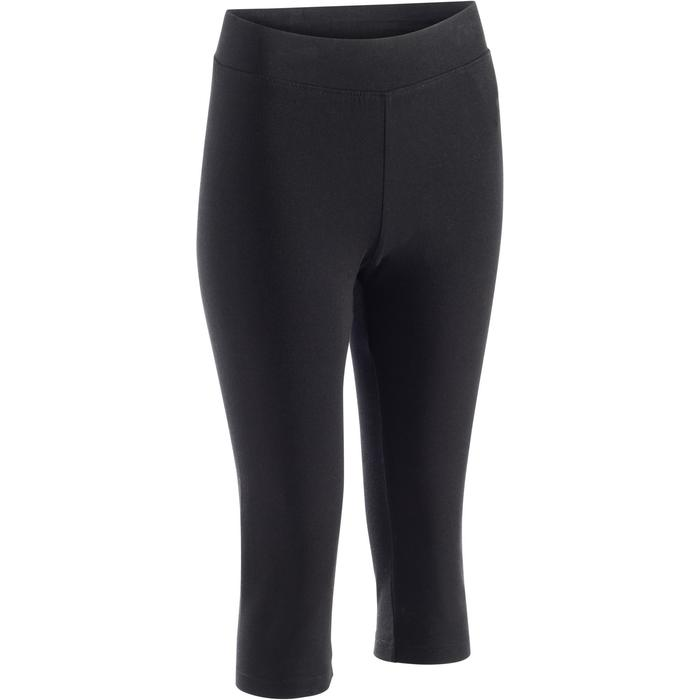 3/4-Hose Fit+ 500 Slim Pilates sanfte Gym Damen schwarz