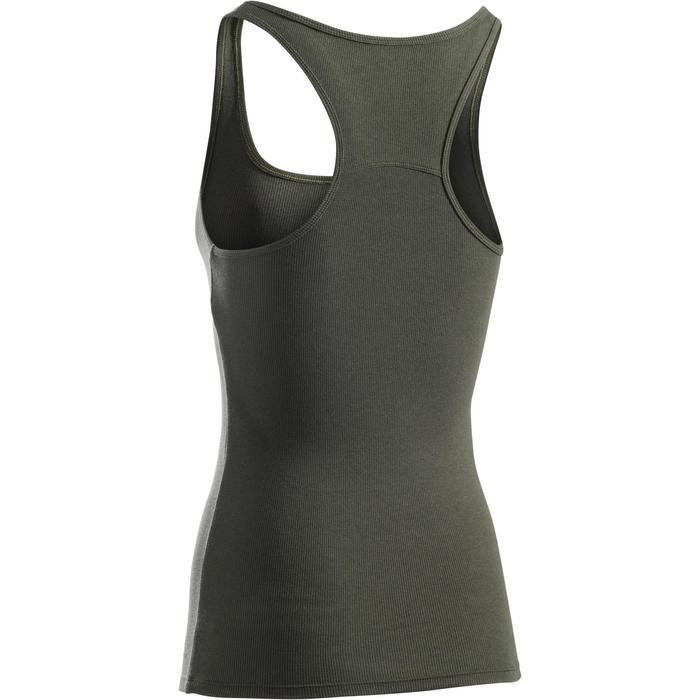 Camiseta sin mangas 500 gimnasia y pilates mujer caqui