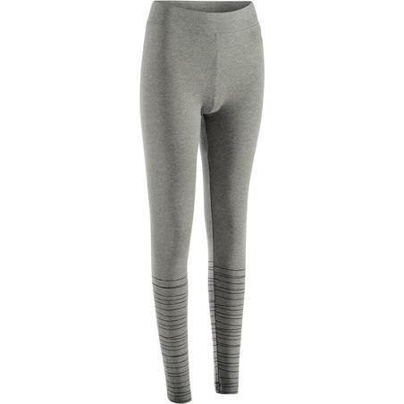 Fit+ 500 Women's Slim-Fit Gym & Pilates Leggings - Heathered Grey / Black Lines