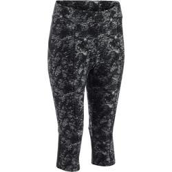 Dameskuitbroek 520 voor gym en pilates zwart print