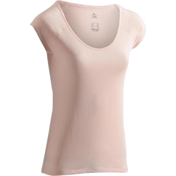T-Shirt 500 Slim Gym & Pilates Damen hellrosa