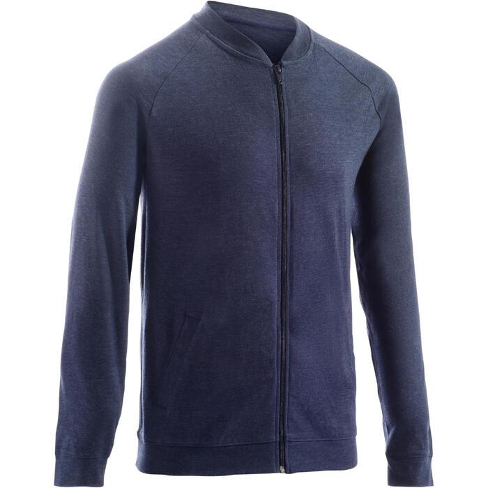 Vest 100 voor pilates en lichte gym heren donkerblauw