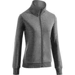500 Women's Gym & Pilates Zip-Up Hoodless Jacket - Speckled Mottled Grey