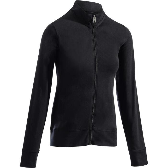 Veste 100 Gym & Pilates Femme sans capuche noir - 1273281