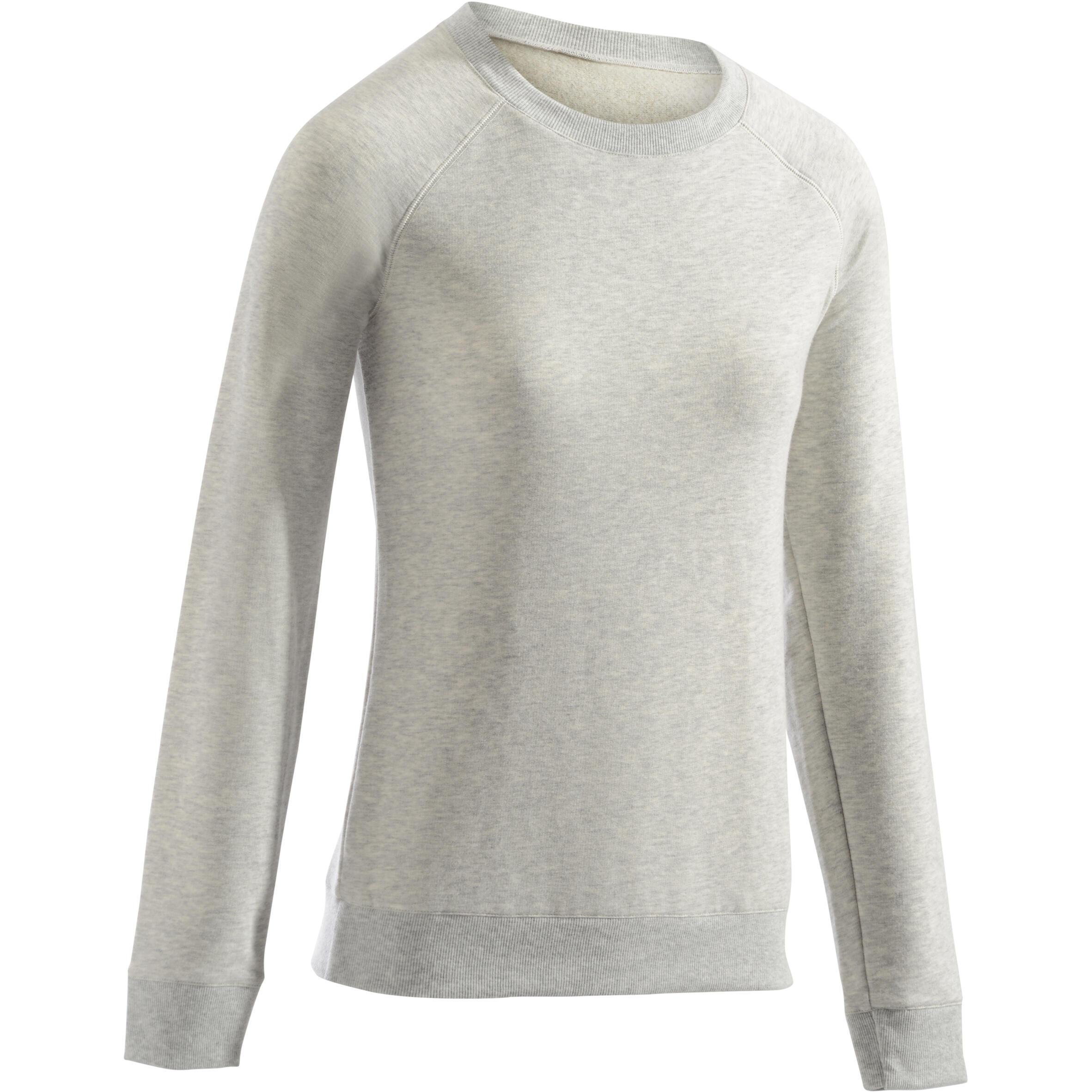 Domyos Damessweater 500 voor gym en stretching gemêleerd lichtgrijs