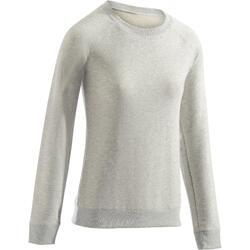 Damessweatshirt 100 voor gym en pilates, gemêleerd lichtgrijs