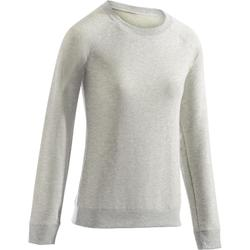 Sweat 500 Gym Stretching femme gris clair chiné