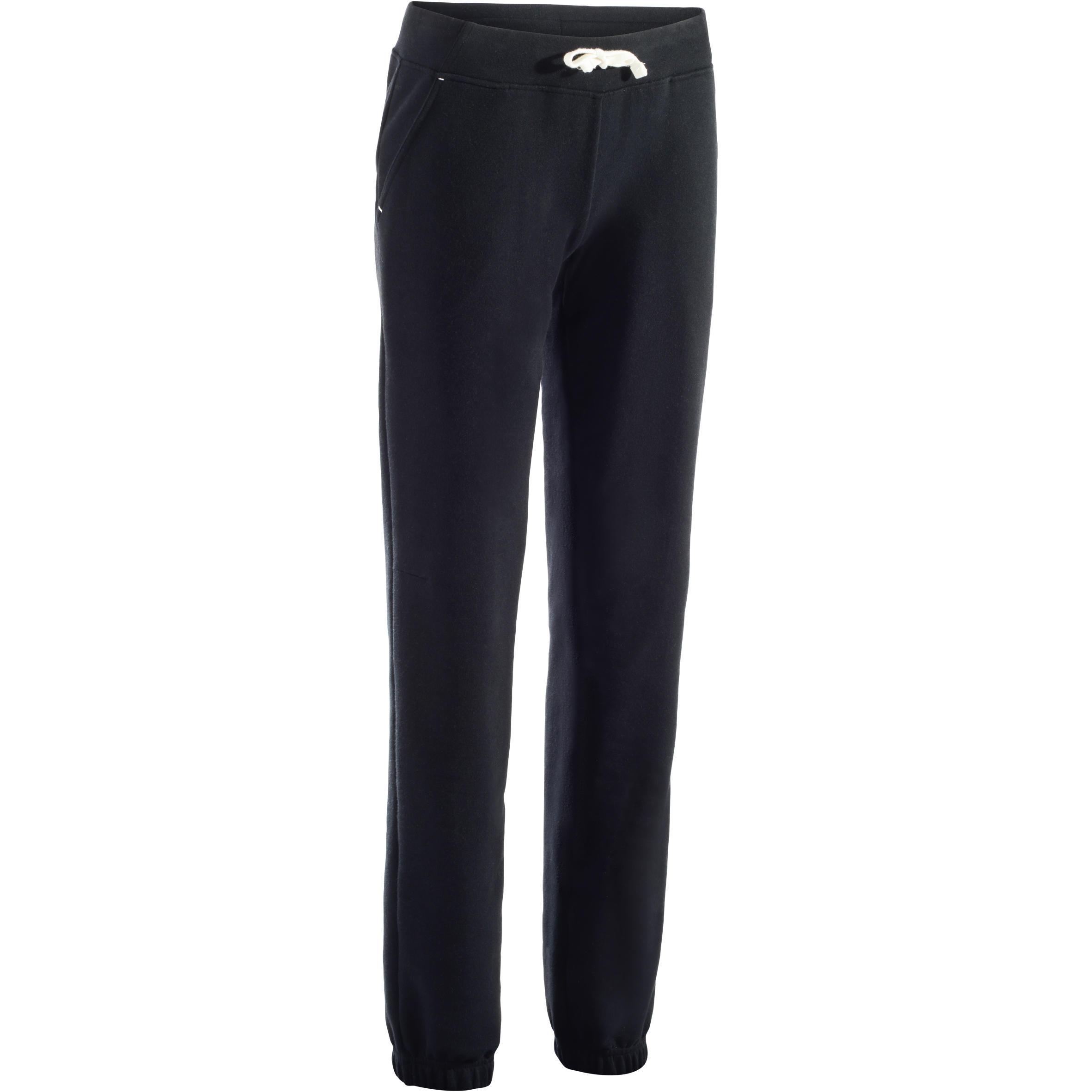 Pantalon 500 régulier gymnastique d'étirements femme noir