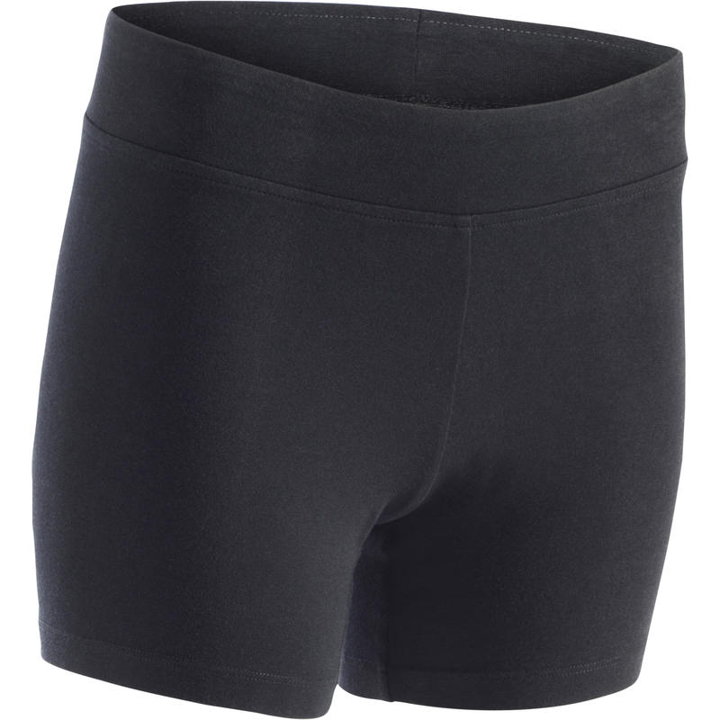 Calzas short FIT+ 500 slim Pilates y Gimnasia suave mujer negro