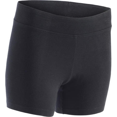Mallas-short FIT+ 500 slim pilates y gimnasia suave mujer negro