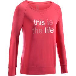 T-Shirt 500 manches longues Gym & Pilates femme printé