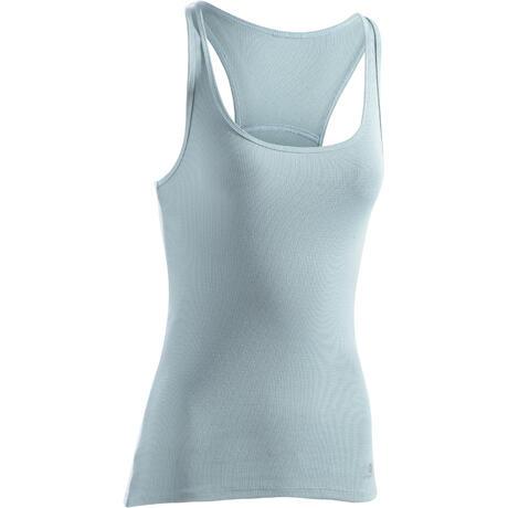 7c043caf80bcc Débardeur 500 Gym   Pilates femme bleu clair grisé