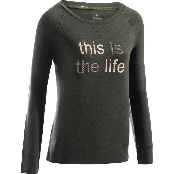 Langarmshirt 500 Gym Damen khaki bedruckt