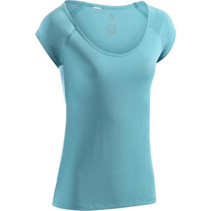 Dames T-shirt 500 met korte mouwen voor gym en pilates, slim fit, gletsjerblauw