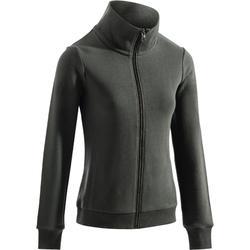 500 Women's Gym & Pilates Zip-Up Jacket - Khaki