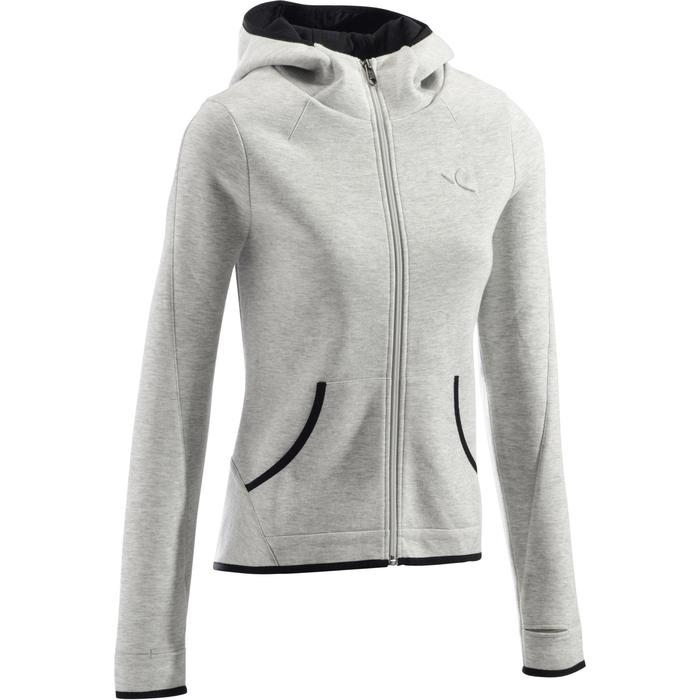 900 Women's Hooded Gym Stretching Jacket - Mottled Light Grey