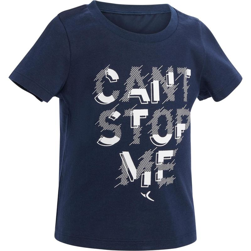 caa286329 Camiseta de manga corta 100 gimnasia infantil azul estampado ...