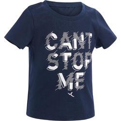 Tee-shirt 500 manches courtes gym bébé imprimé bleu marine