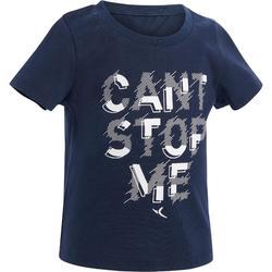 T-shirt met korte mouwen 100 voor kleutergym blauw opdruk