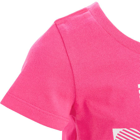 100 Baby Short-Sleeved Gym T-Shirt - Pink Print