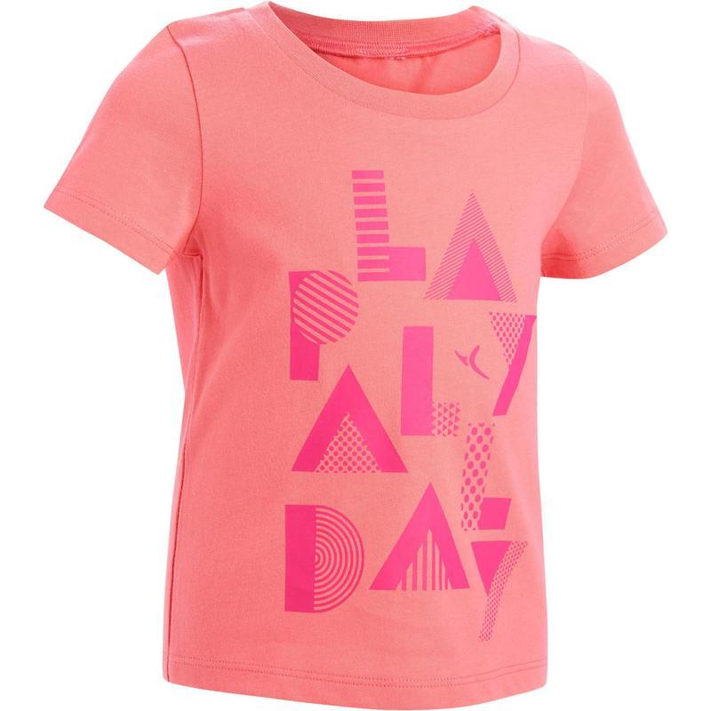 c8f3a5115 Camiseta de mangas cortas 100 gimnasia infantil rosa estampado ...