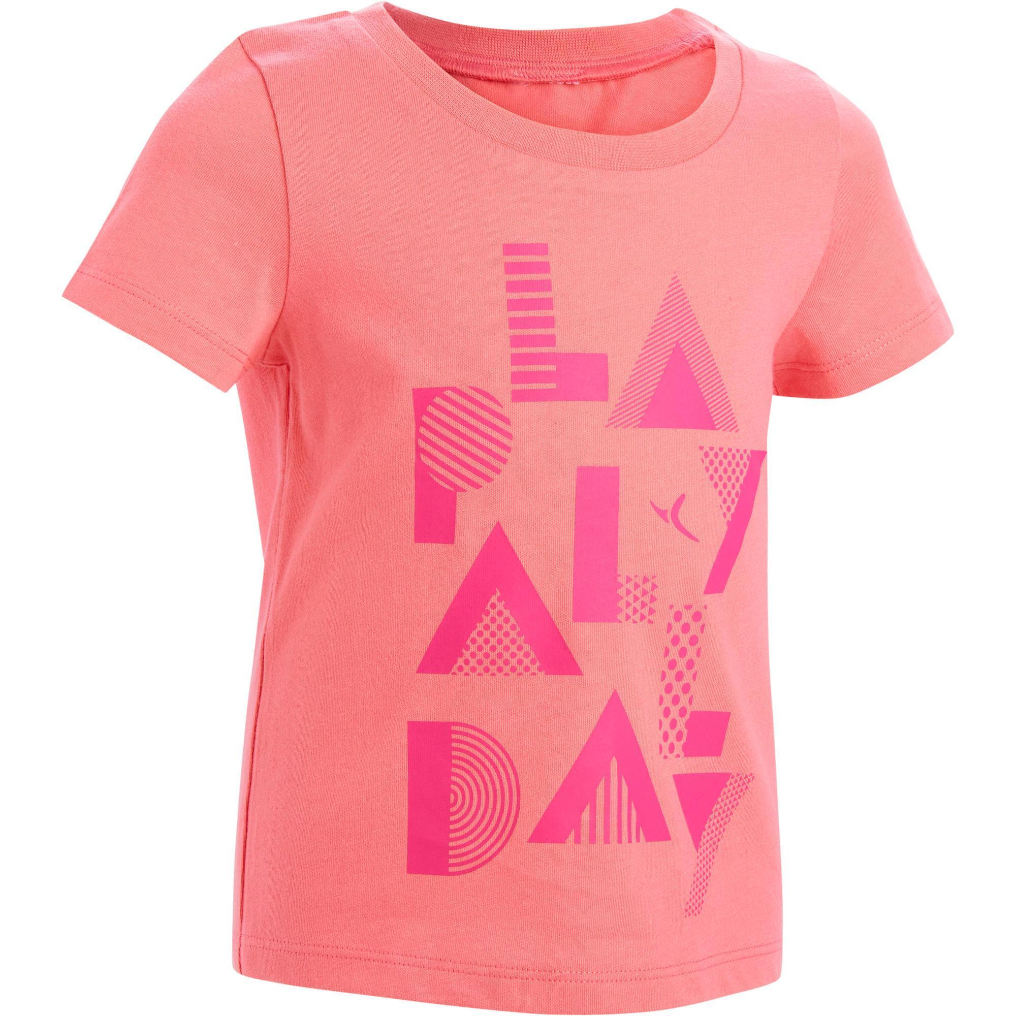 Domyos T-shirt met korte mouwen 100 voor kleutergym roze met opdruk