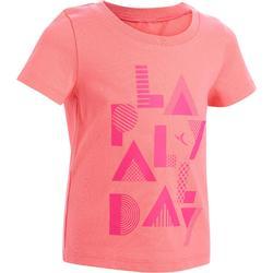 T-shirt met korte mouwen 100 voor kleutergym roze met opdruk