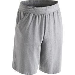 標準剪裁皮拉提斯與溫和健身及膝式短褲500 - 雜灰色