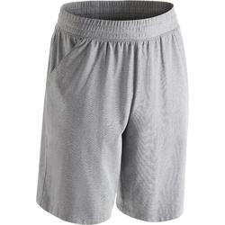 Short 500 regular au dessus du genou Gym Stretching homme gris chiné