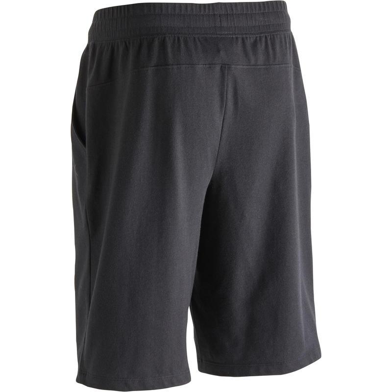 Short 500 regular largo sobre rodillas de Pilates y Gimnasia suave negro hombre