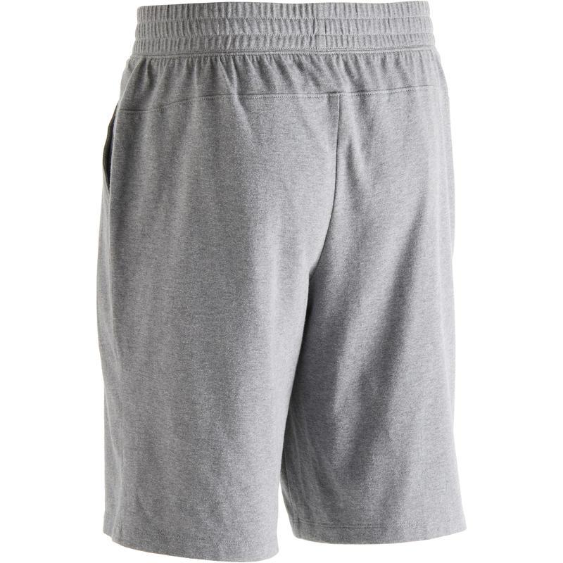 Short 500 regular largo sobre rodillas Pilates y Gimnasia suave hombre gris jasp
