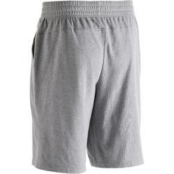 Short 500 regular fit boven de knie pilates en lichte gym heren gemêleerd grijs