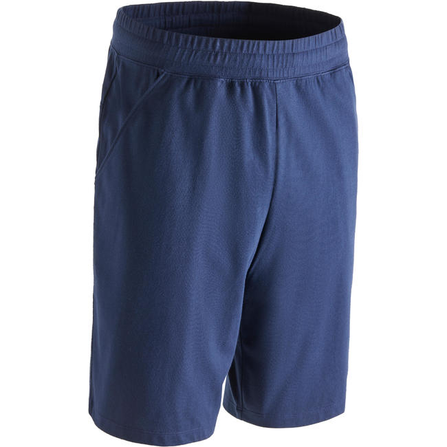 500 Regular-Fit Knee-Length Slim-Fit Pilates & Gentle Gym Shorts - Navy Blue