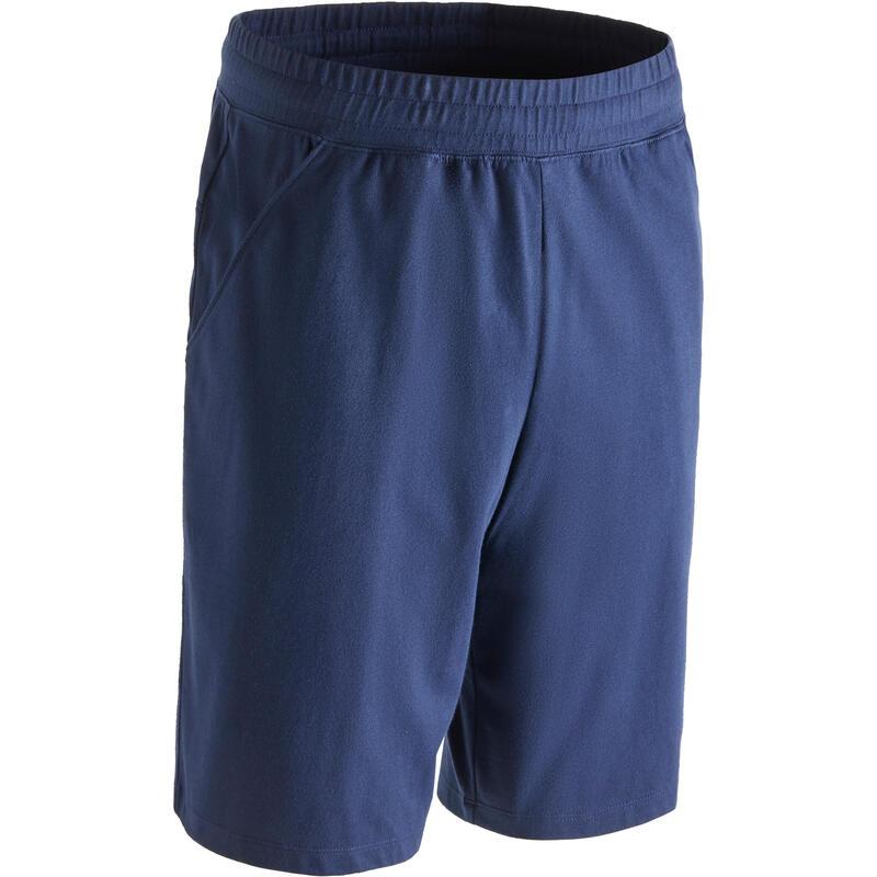 500 Celana Pendek Selutut Pilates & Gym Ringan - Navy Blue