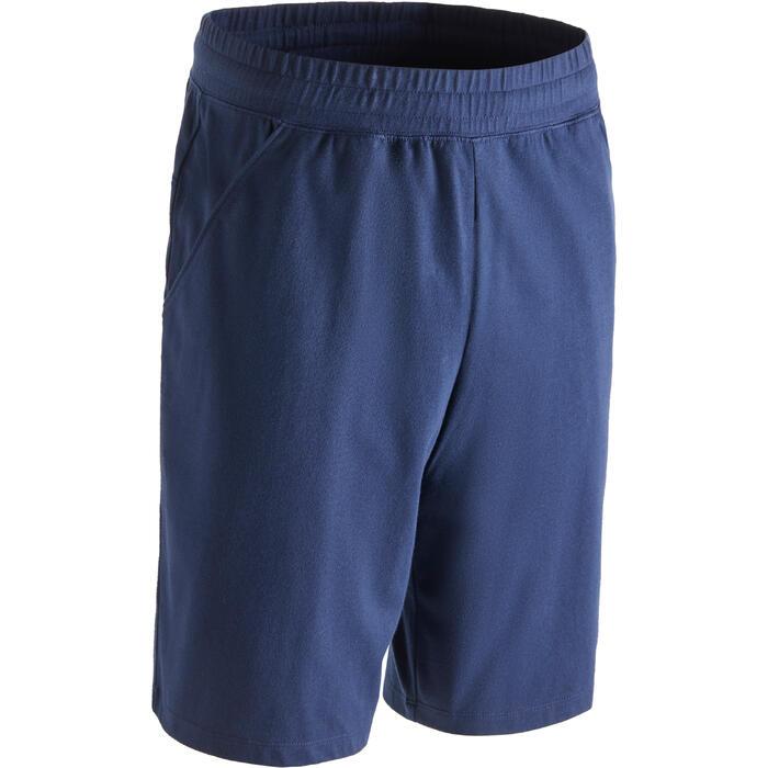 Short 500 regular largo sobre rodillas Pilates Gimnasia suave hombre azul marino