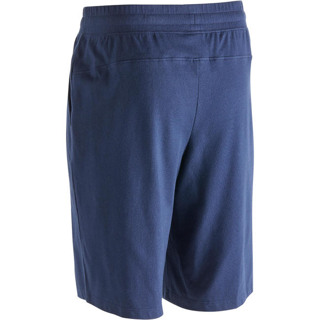 500 Regular-Fit Knee-Length Slim-Fit Pilates & Gentle Gym Shorts - Navy Blue