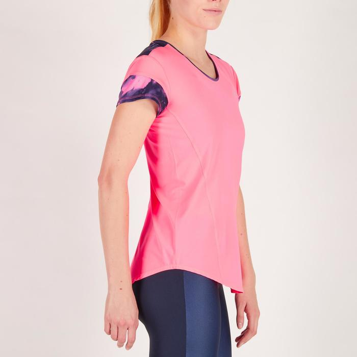 Camiseta fitness cardio mujer rosa fluorescente 500 Domyos