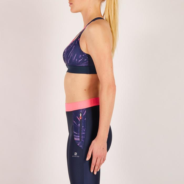 Sujetador-top fitness cardio mujer estampados tropicales rosa 500 Domyos
