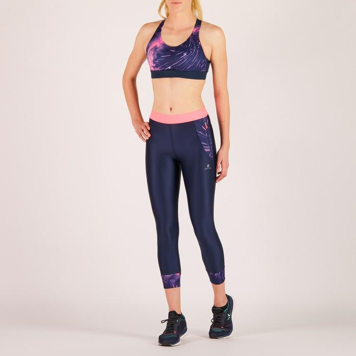 Brassière fitness cardio femme imprimés géométriques noirs 500 Domyos - 1274446