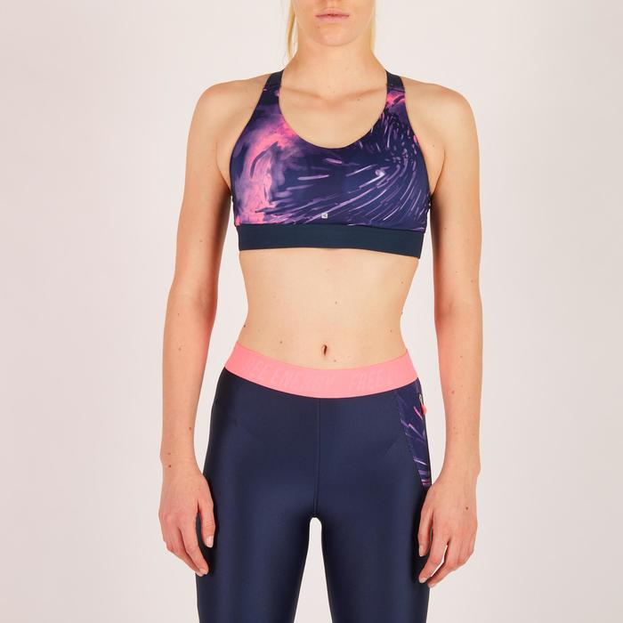Sport-Bustier Cardio 500 Damen Tropical-Print rosa
