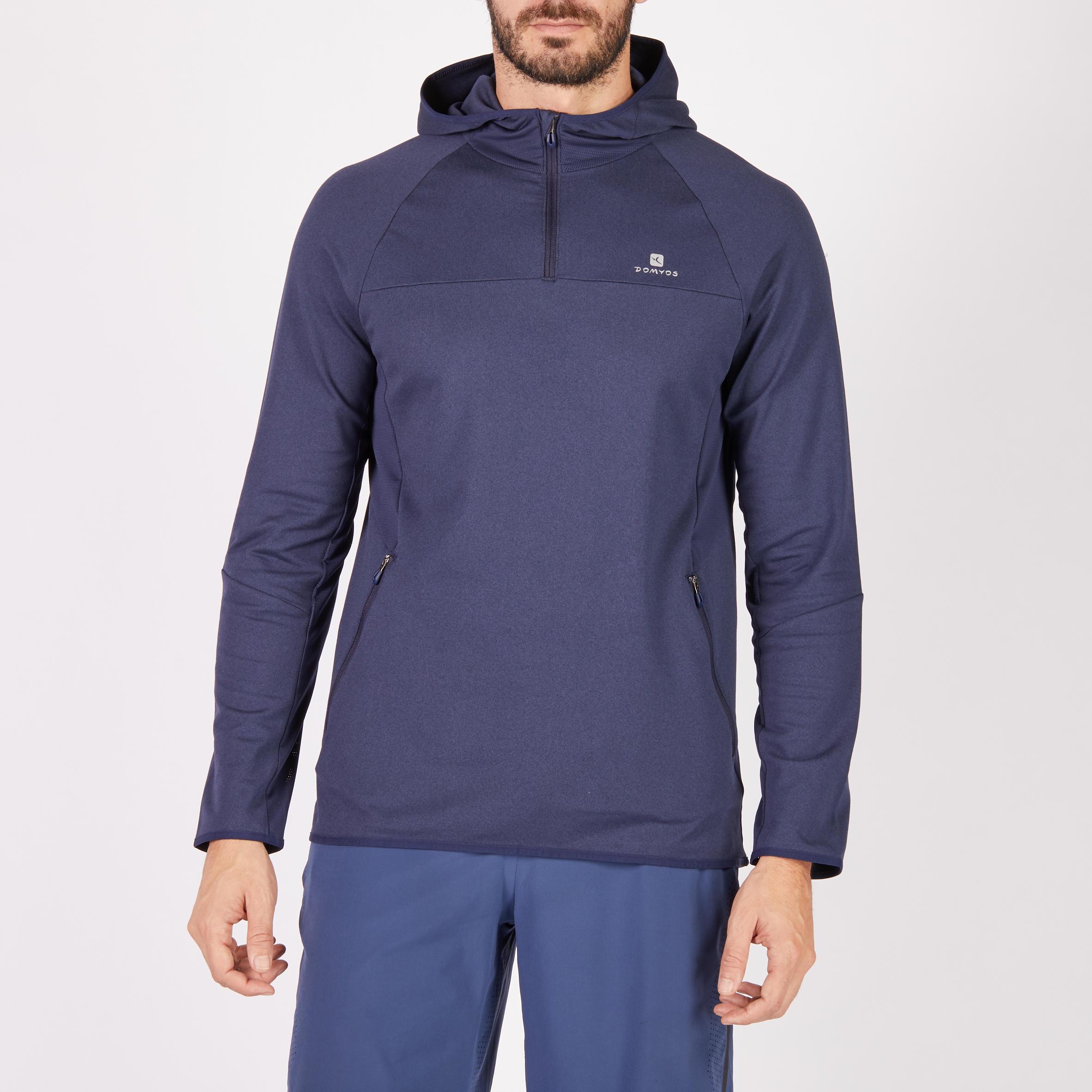 Sudadera fitness-cardio azul marino para hombre FSW500