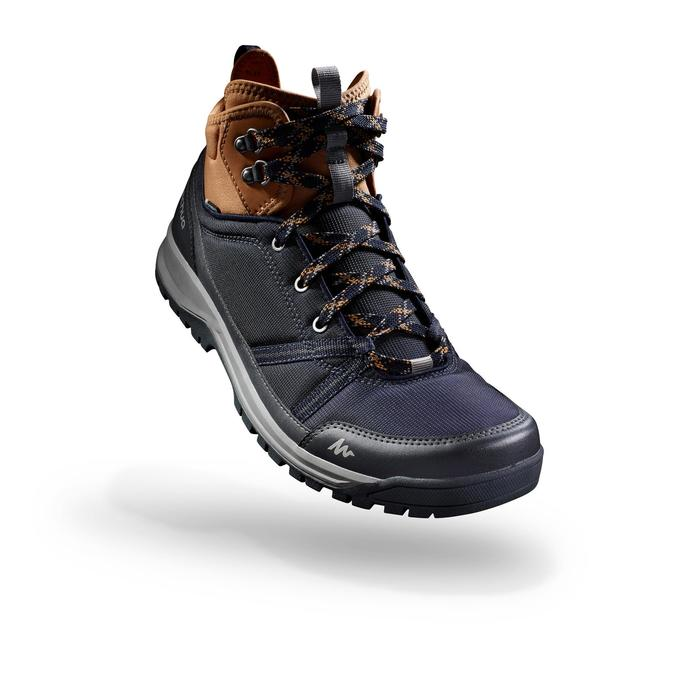 Waterdichte schoenen voor wandelen in de natuur NH150 mid blauw bruin heren