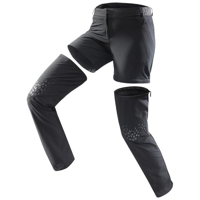 Pantalon modulable de randonnée en montagne MH550 Femme Noir