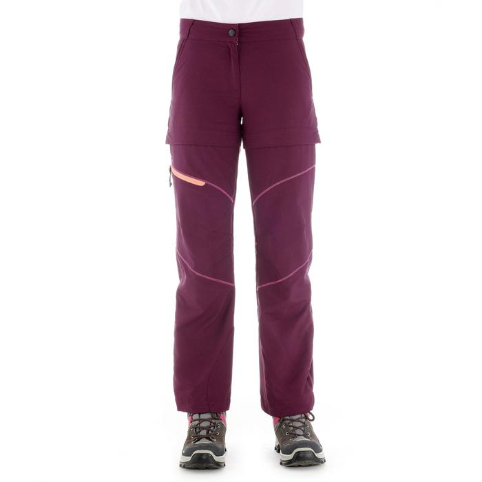 MH550 Kids' Hiking Zip-Off Trousers - Plum