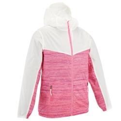 Girl's Helium 500 windproof hiking windbreaker Green Lined Pink